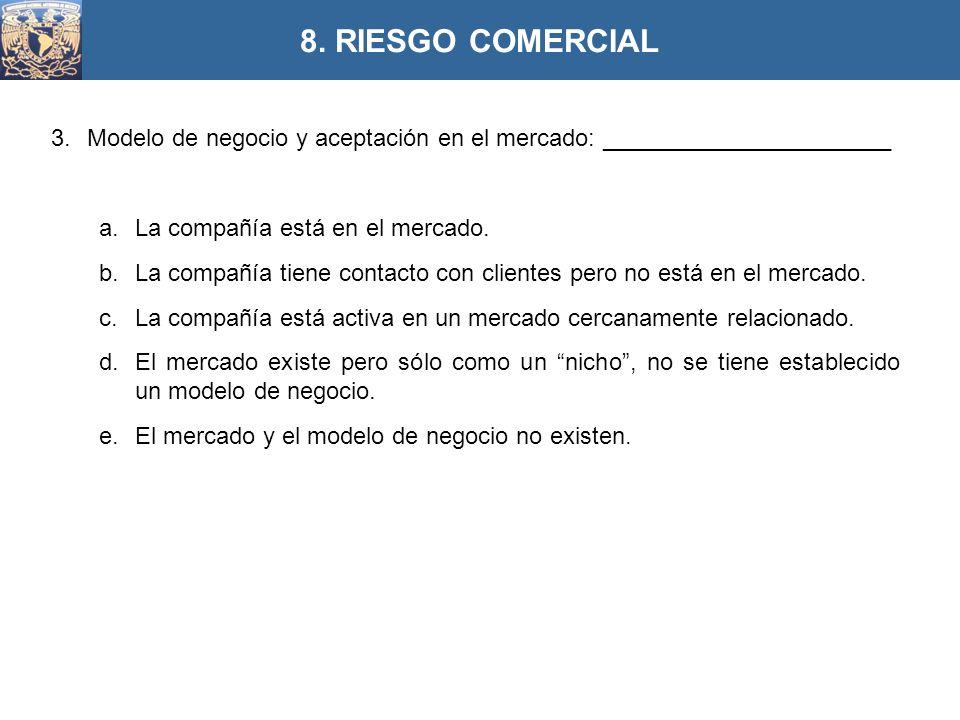 8. RIESGO COMERCIAL Modelo de negocio y aceptación en el mercado: ______________________. La compañía está en el mercado.