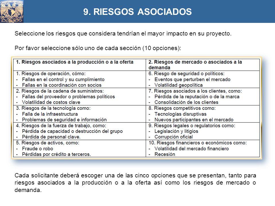 9. RIESGOS ASOCIADOS Seleccione los riesgos que considera tendrían el mayor impacto en su proyecto.