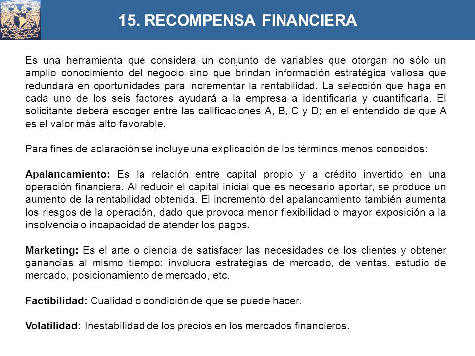 15. RECOMPENSA FINANCIERA