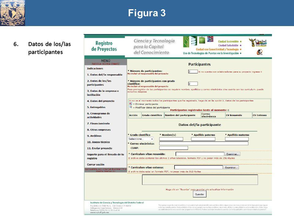 Figura 3 Datos de los/las participantes