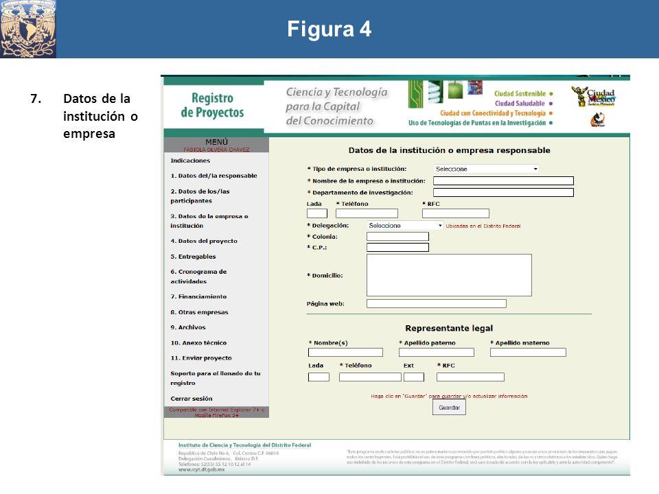 Figura 4 Datos de la institución o empresa