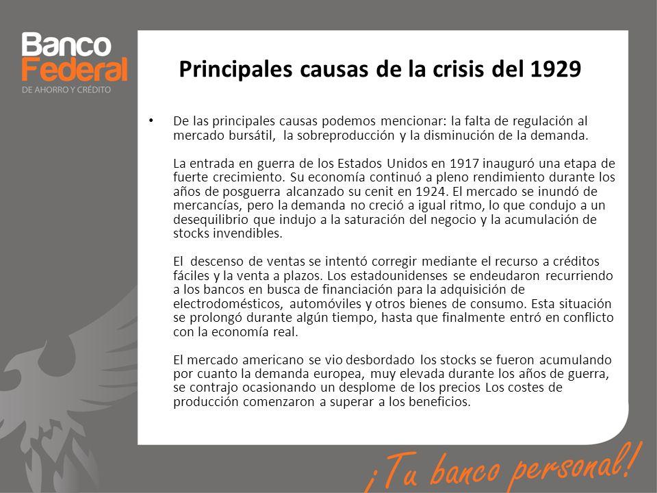 Principales causas de la crisis del 1929