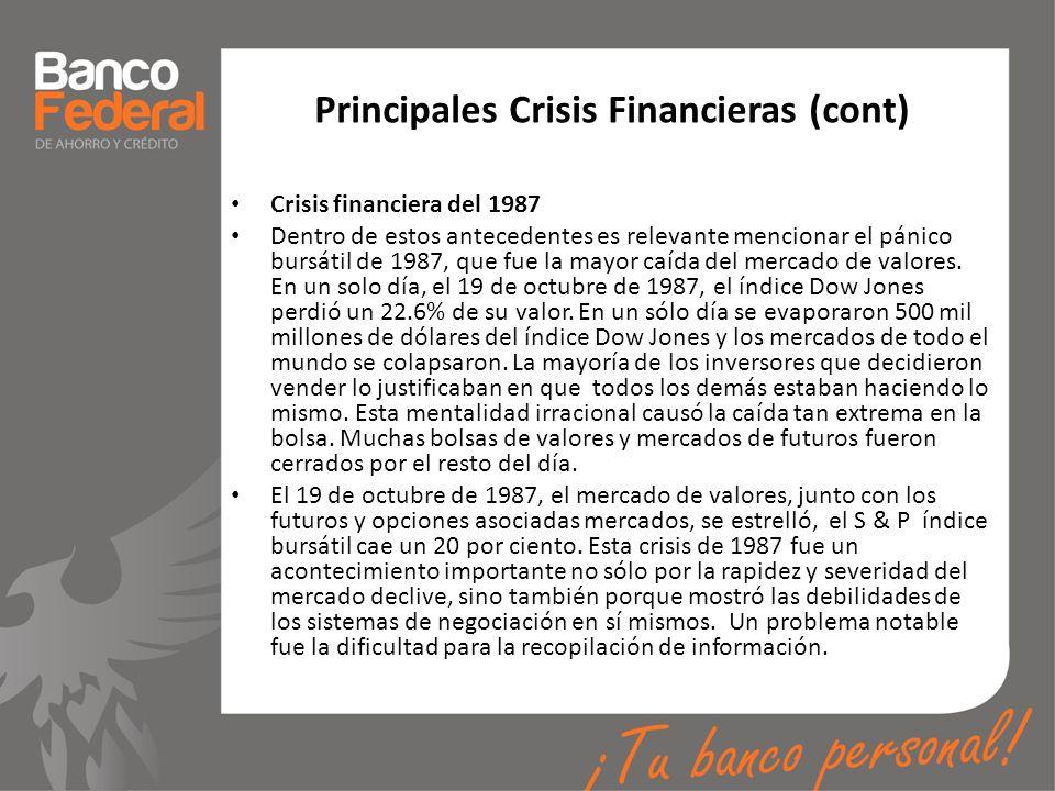 Principales Crisis Financieras (cont)