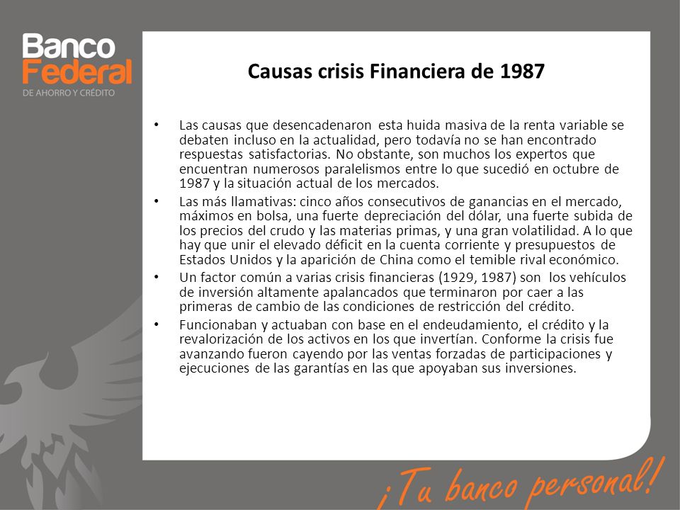 Causas crisis Financiera de 1987
