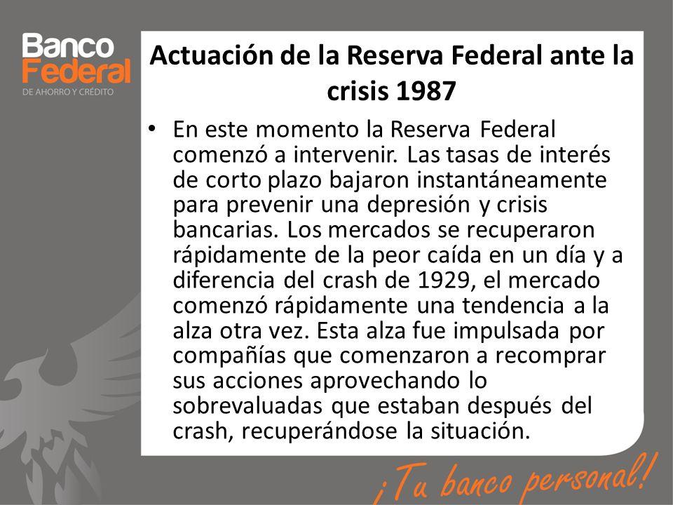 Actuación de la Reserva Federal ante la crisis 1987