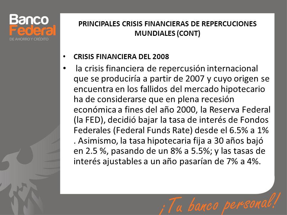 PRINCIPALES CRISIS FINANCIERAS DE REPERCUCIONES MUNDIALES (CONT)