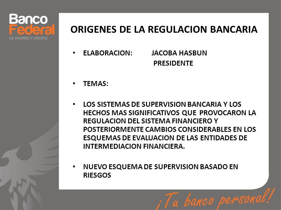 ORIGENES DE LA REGULACION BANCARIA