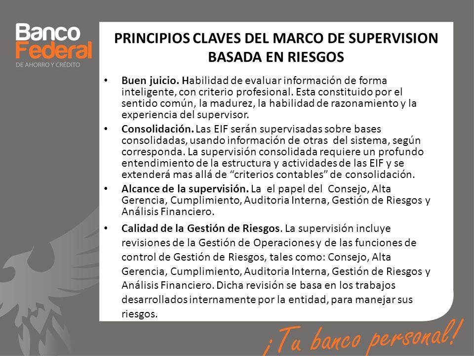 PRINCIPIOS CLAVES DEL MARCO DE SUPERVISION BASADA EN RIESGOS