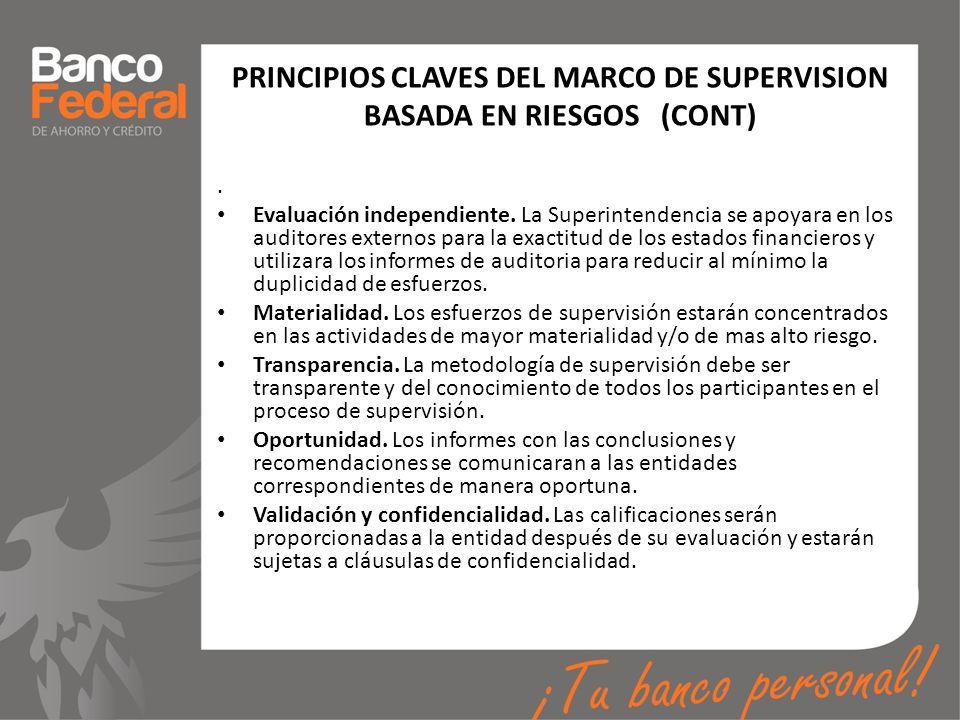 PRINCIPIOS CLAVES DEL MARCO DE SUPERVISION BASADA EN RIESGOS (CONT)