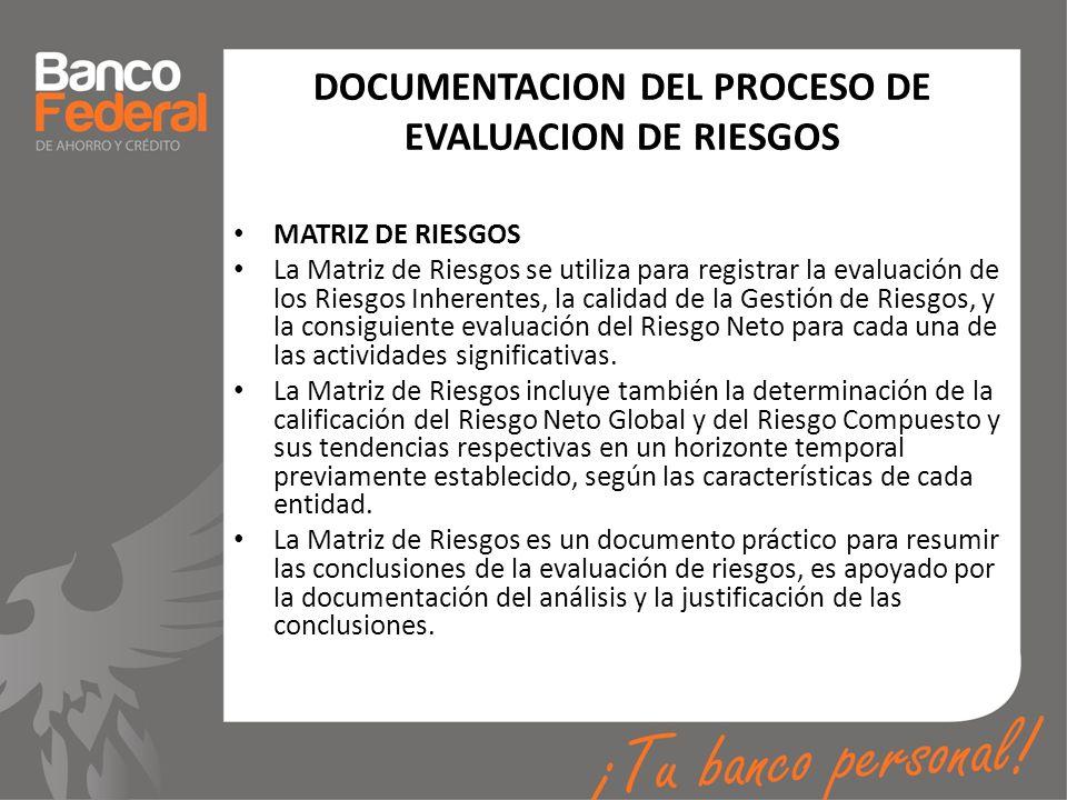 DOCUMENTACION DEL PROCESO DE EVALUACION DE RIESGOS