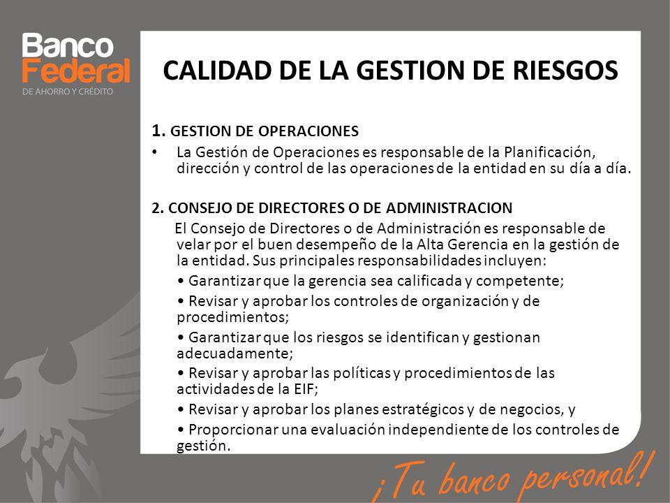 CALIDAD DE LA GESTION DE RIESGOS
