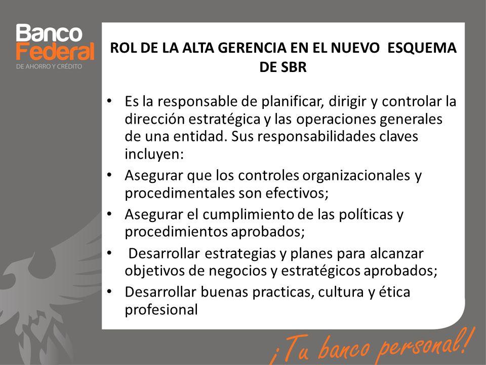 ROL DE LA ALTA GERENCIA EN EL NUEVO ESQUEMA DE SBR