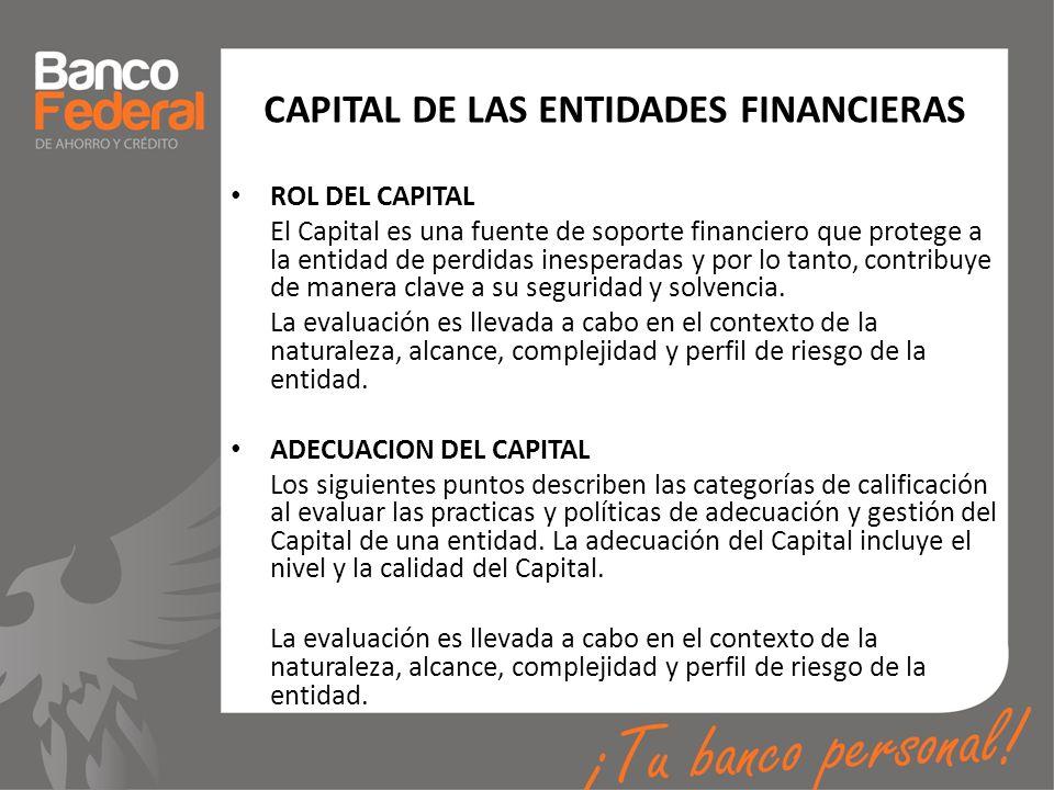 CAPITAL DE LAS ENTIDADES FINANCIERAS