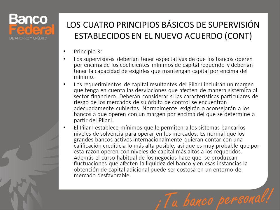 LOS CUATRO PRINCIPIOS BÁSICOS DE SUPERVISIÓN ESTABLECIDOS EN EL NUEVO ACUERDO (CONT)