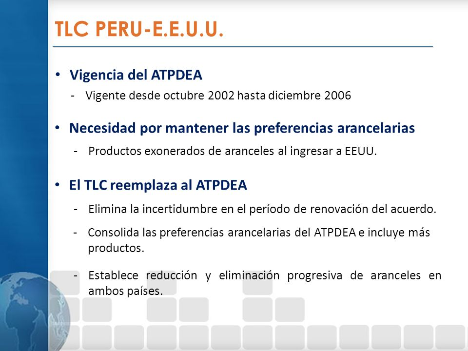 TLC PERU-E.E.U.U. Vigencia del ATPDEA