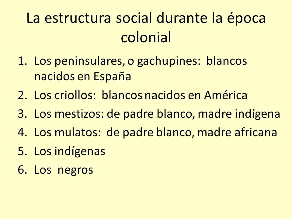 La estructura social durante la época colonial