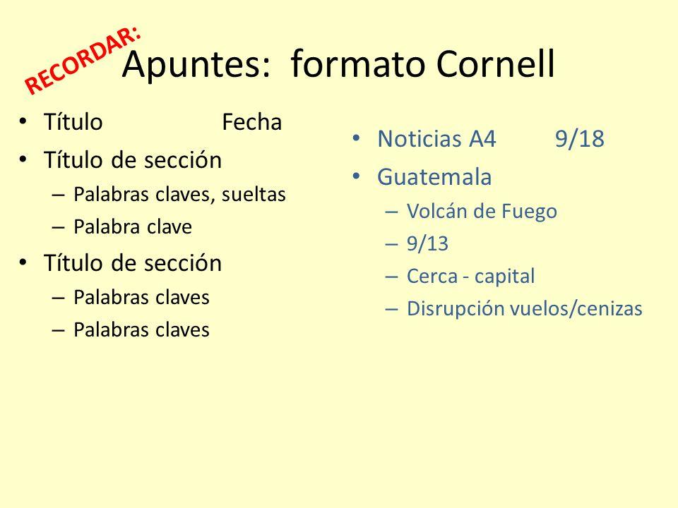 Apuntes: formato Cornell