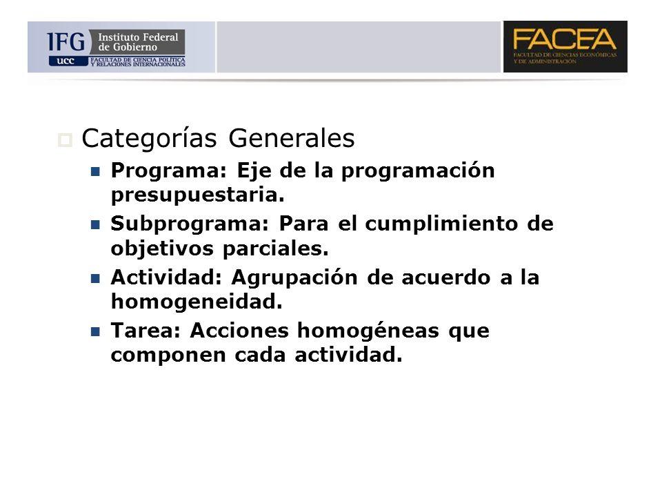 Categorías Generales Programa: Eje de la programación presupuestaria.