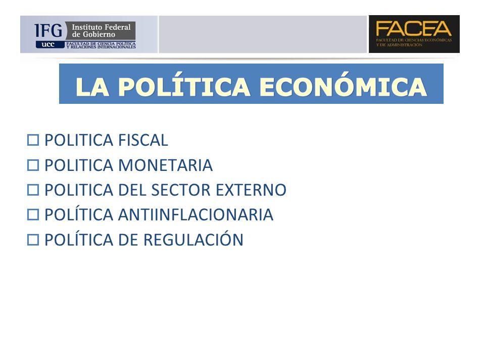 POLITICA FISCAL POLITICA MONETARIA. POLITICA DEL SECTOR EXTERNO.