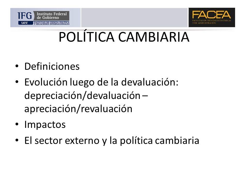POLÍTICA CAMBIARIA Definiciones