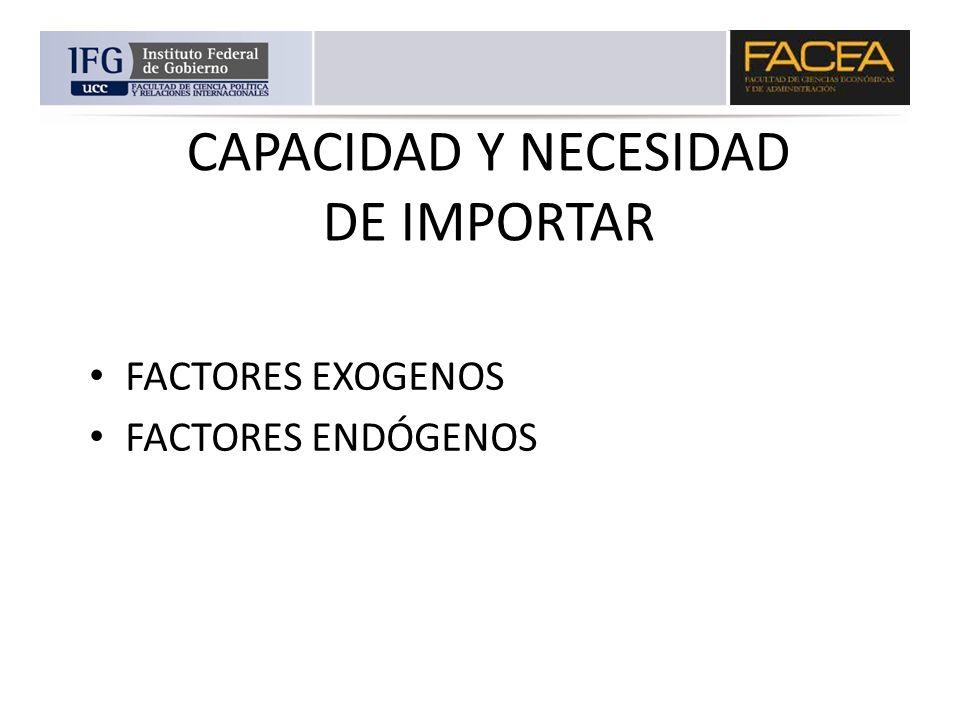 CAPACIDAD Y NECESIDAD DE IMPORTAR