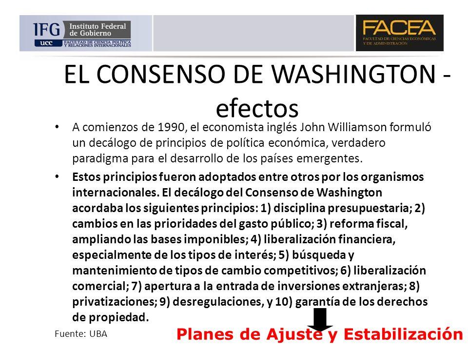 EL CONSENSO DE WASHINGTON - efectos