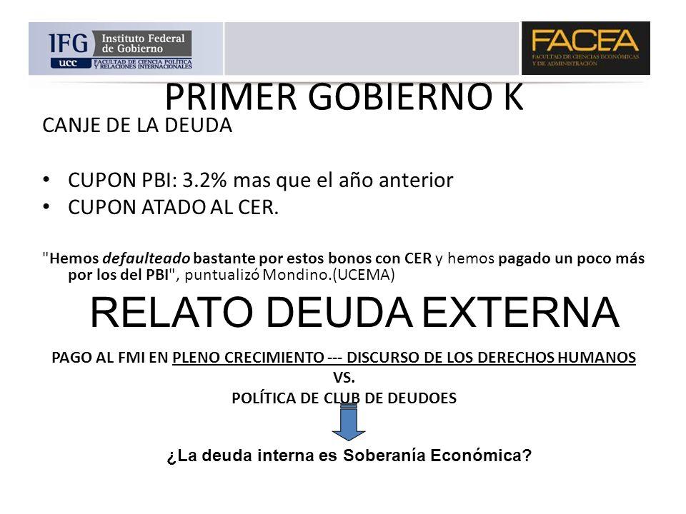 PRIMER GOBIERNO K RELATO DEUDA EXTERNA CANJE DE LA DEUDA