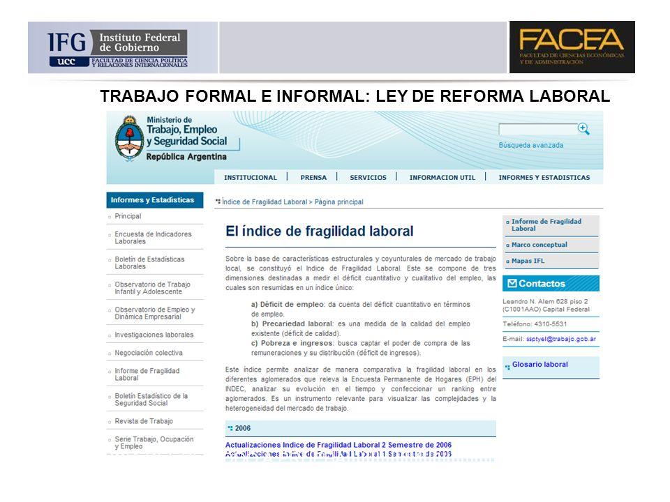 TRABAJO FORMAL E INFORMAL: LEY DE REFORMA LABORAL