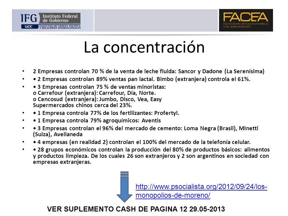 La concentración2 Empresas controlan 70 % de la venta de leche fluida: Sancor y Dadone (La Serenísima)