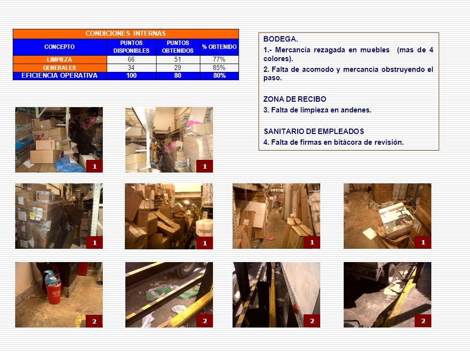 1.- Mercancía rezagada en muebles (mas de 4 colores).