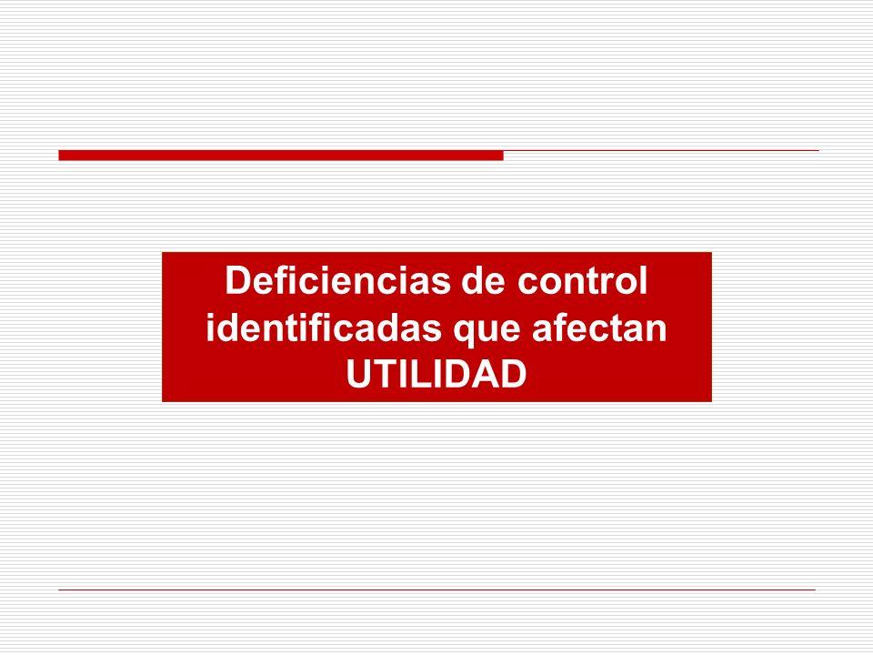 Deficiencias de control identificadas que afectan