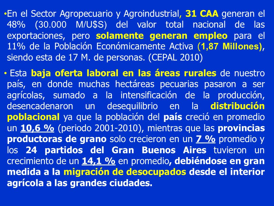 En el Sector Agropecuario y Agroindustrial, 31 CAA generan el 48% (30
