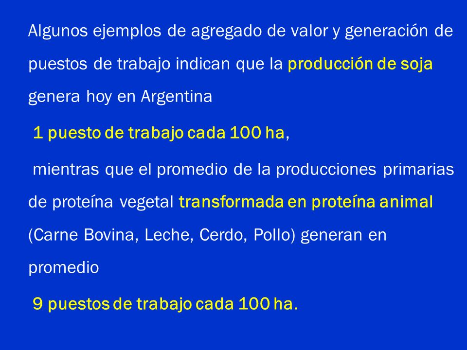 Algunos ejemplos de agregado de valor y generación de puestos de trabajo indican que la producción de soja genera hoy en Argentina 1 puesto de trabajo cada 100 ha, mientras que el promedio de la producciones primarias de proteína vegetal transformada en proteína animal (Carne Bovina, Leche, Cerdo, Pollo) generan en promedio 9 puestos de trabajo cada 100 ha.