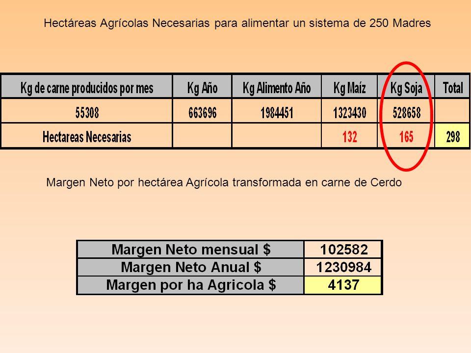 Hectáreas Agrícolas Necesarias para alimentar un sistema de 250 Madres