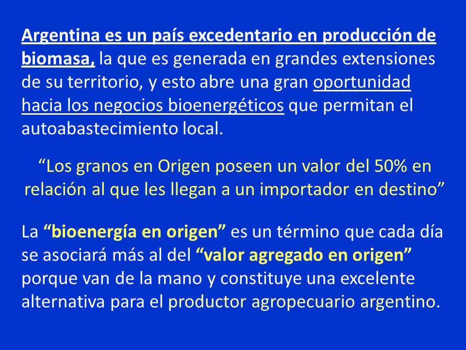 Argentina es un país excedentario en producción de biomasa, la que es generada en grandes extensiones de su territorio, y esto abre una gran oportunidad hacia los negocios bioenergéticos que permitan el autoabastecimiento local.