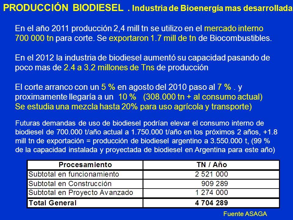 PRODUCCIÓN BIODIESEL . Industria de Bioenergía mas desarrollada
