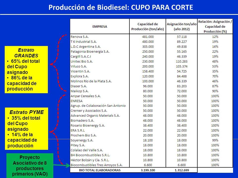 Producción de Biodiesel: CUPO PARA CORTE