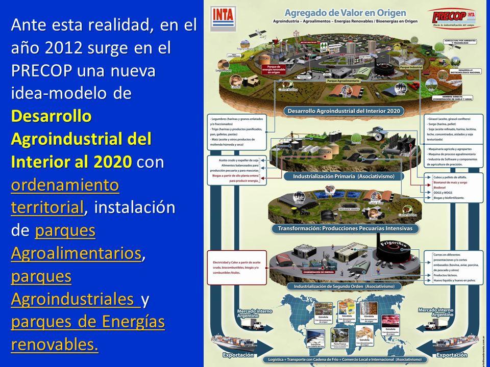 Ante esta realidad, en el año 2012 surge en el PRECOP una nueva idea-modelo de Desarrollo Agroindustrial del Interior al 2020 con ordenamiento territorial, instalación de parques Agroalimentarios, parques Agroindustriales y parques de Energías renovables.