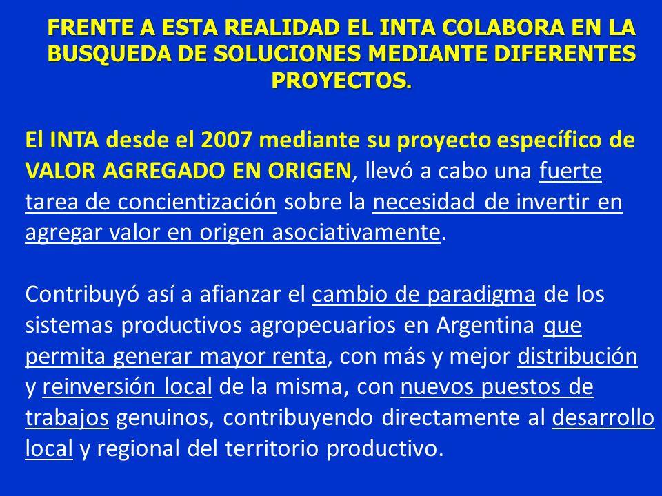 FRENTE A ESTA REALIDAD EL INTA COLABORA EN LA BUSQUEDA DE SOLUCIONES MEDIANTE DIFERENTES PROYECTOS.