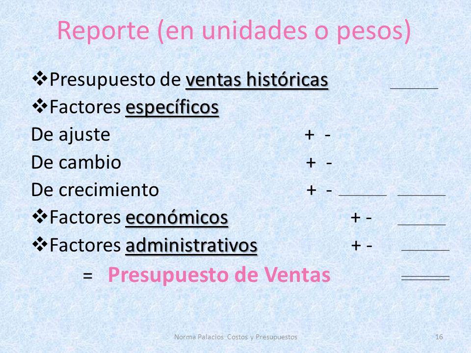 Reporte (en unidades o pesos)