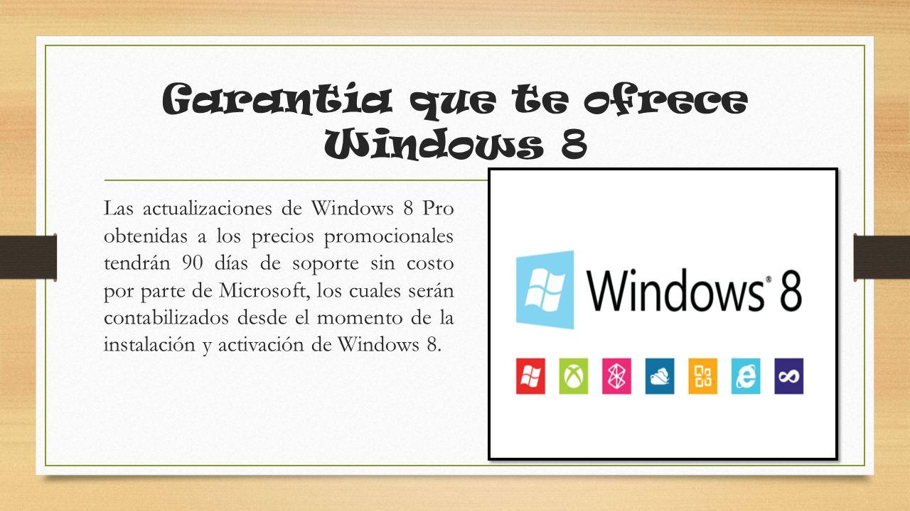 Garantía que te ofrece Windows 8