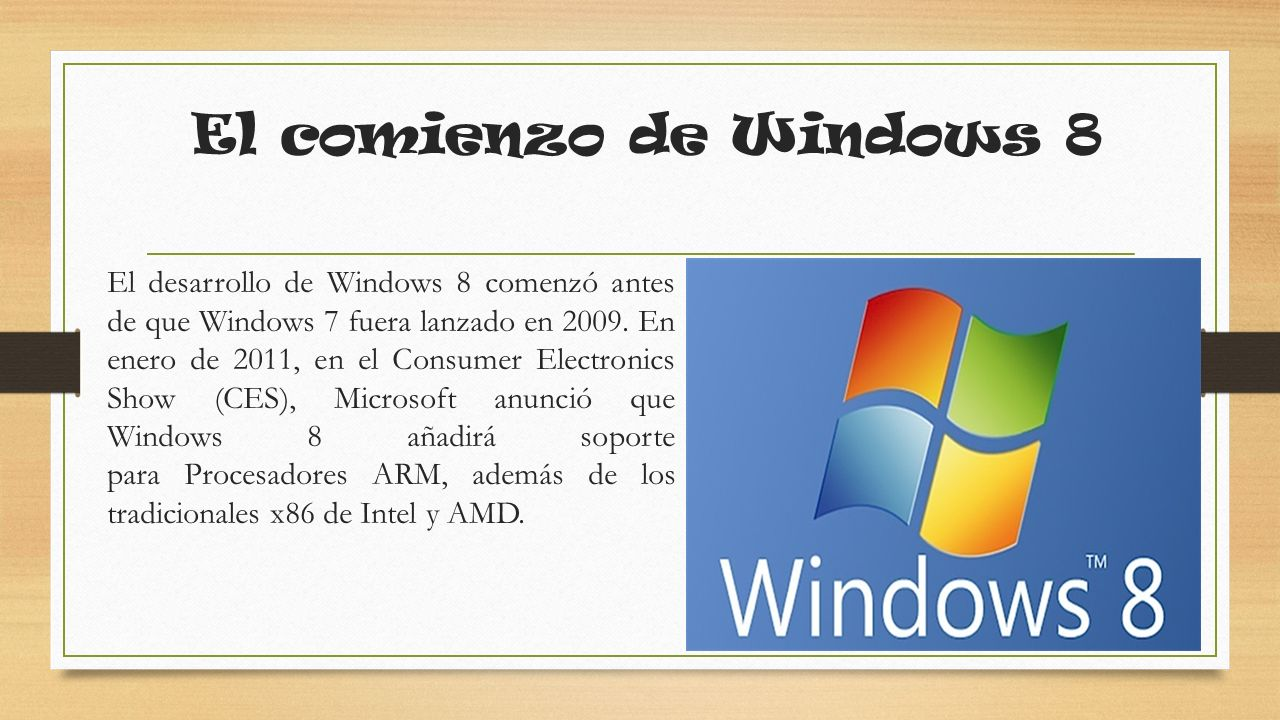 El comienzo de Windows 8