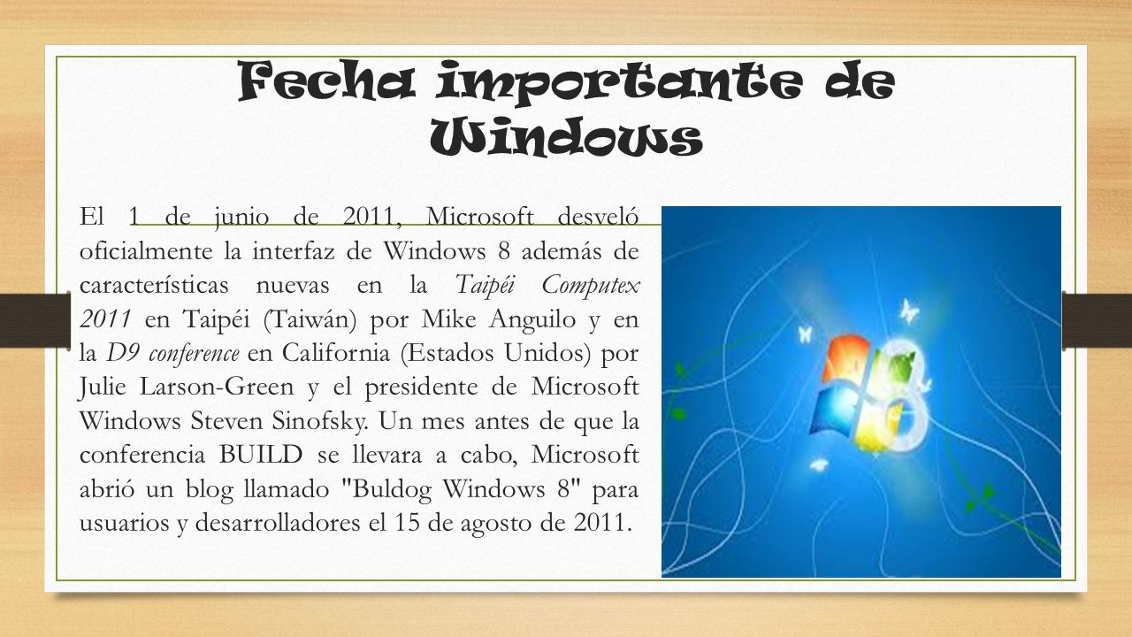 Fecha importante de Windows