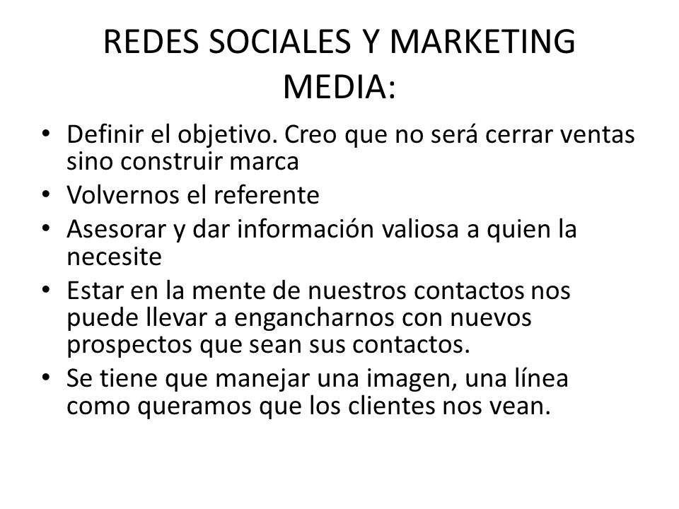 REDES SOCIALES Y MARKETING MEDIA: