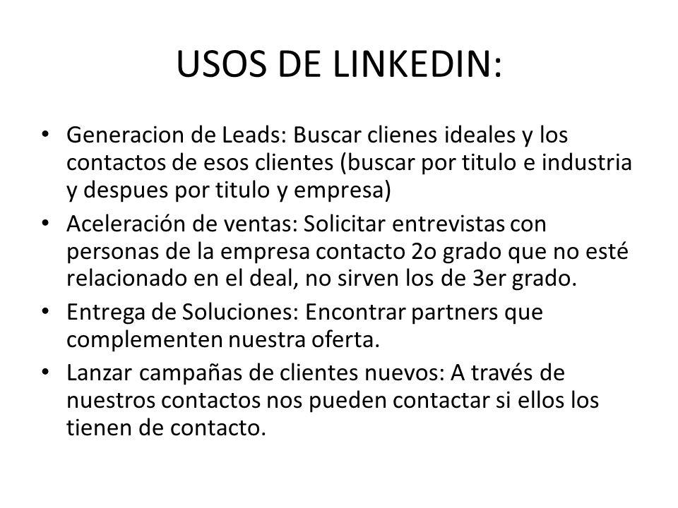 USOS DE LINKEDIN: