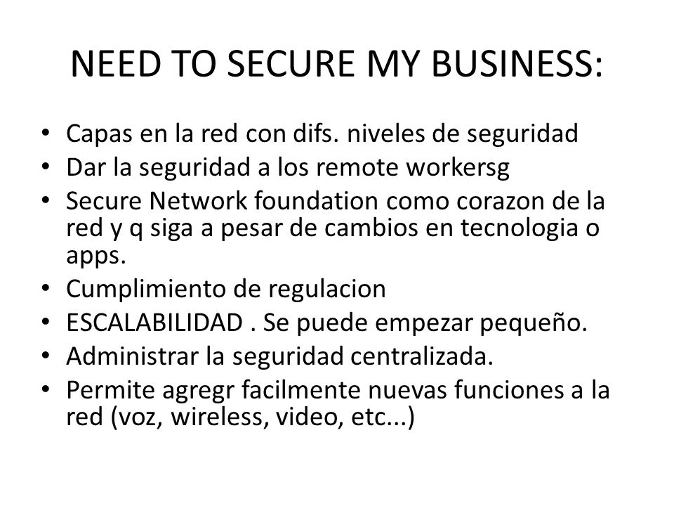 NEED TO SECURE MY BUSINESS: