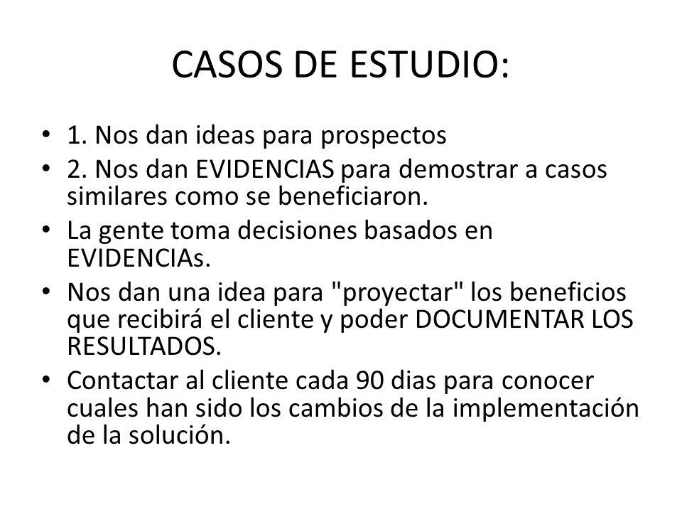 CASOS DE ESTUDIO: 1. Nos dan ideas para prospectos