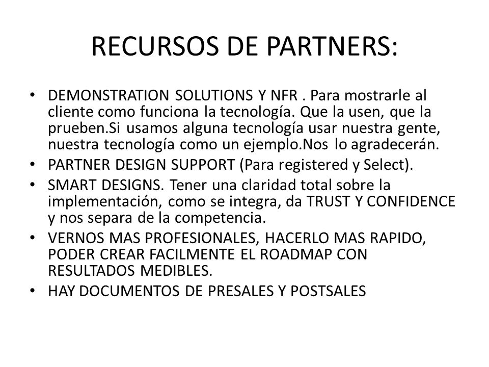 RECURSOS DE PARTNERS: