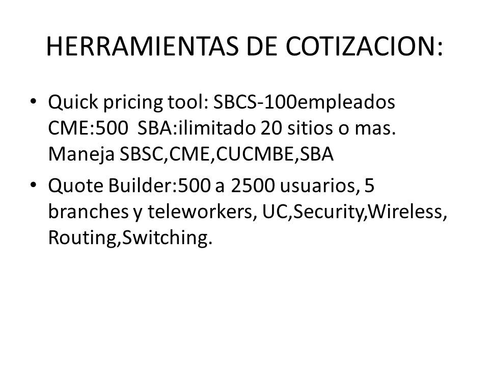 HERRAMIENTAS DE COTIZACION: