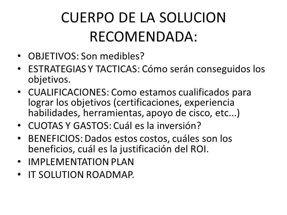 CUERPO DE LA SOLUCION RECOMENDADA:
